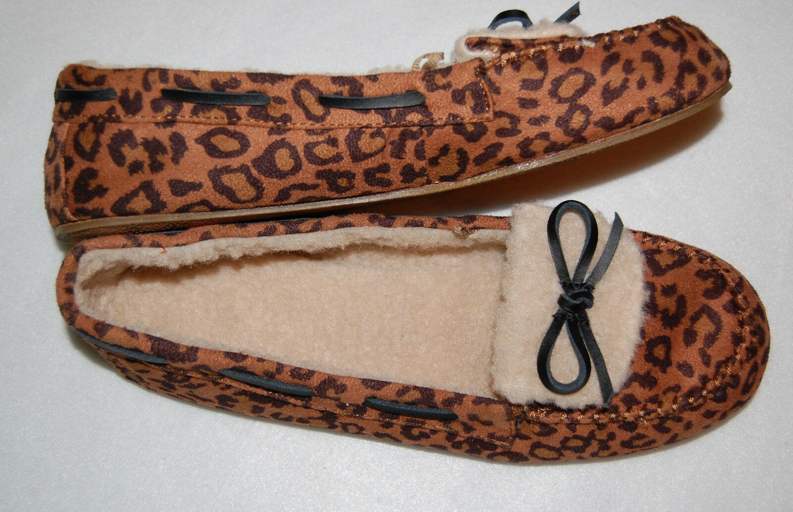 WOMENS Slipper Shoes BROWN LEOPARD PRINT Sherpa Lined L 9-10 FLAT RUBBER SOLES