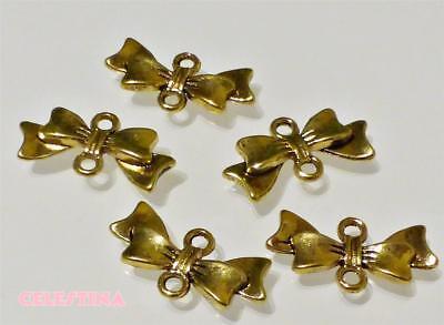 20Pcs Tibetan Silver Tone Bow Butterfly Charms Pendants Connectors 9.5x19.5mm