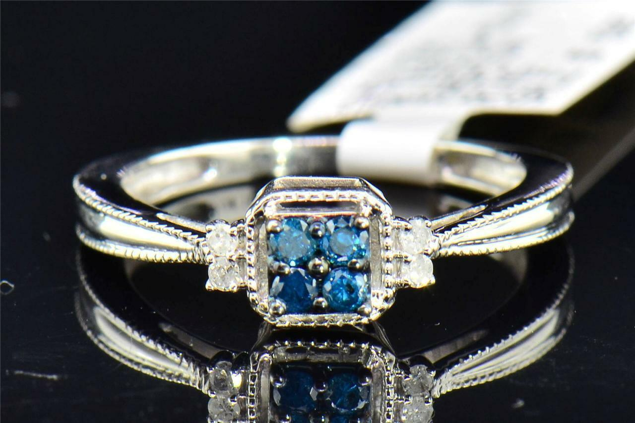 bluee White CT 0 15 gold White 10K Cut Round Ring Engagement