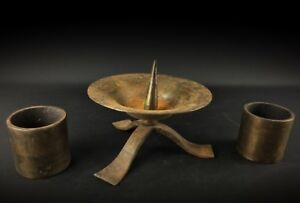 Anciens-mastoc-2kg-bougeoirs-fer-Forge-Style-Medieval-Artiste-ferronnerie-1960
