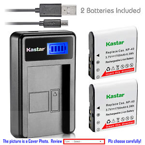 Kastar-Battery-LCD-Charger-for-Casio-NP-40-CNP40-amp-Casio-Exilim-EX-FC100-Camera
