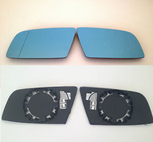 Spiegelglas-Aussenspiegel-BMW-5er-E60-E61-6er-E63-blau-beheizt-links-rechts-Set