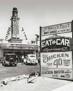 Vintage-1935-HOLLYWOOD-Photo-FAST-FOOD-EAT-IN-CAR-Old-Cars-Americana-8x10