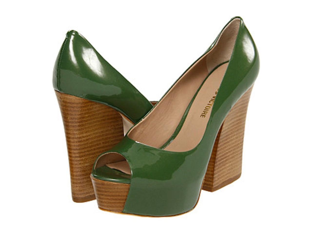 la migliore moda Pour La Victoire Murphy Olive Olive Olive verde Pearlized patent Platform Pump open toe peep  presa di marca