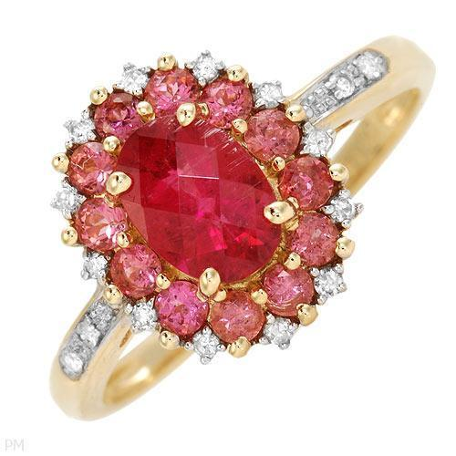 LEZ'gold Ring With 1.23ctw Precious Stones