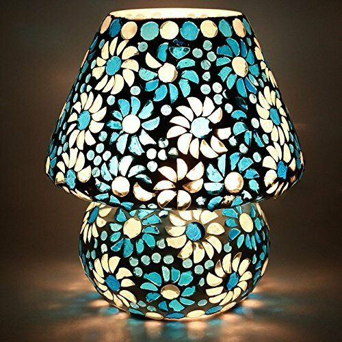 Beautiful Glass Design Table Lamp Blau And Weiß Office Studio Light