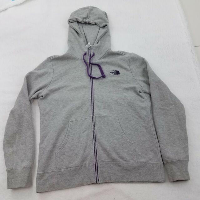 The North Face Women's Gray Purple Hoodie Full Zip Front Jacket L sweatshirt