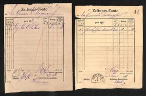 4x-Zeitungs-Conto-NEUSES-19-Jhdt-H561