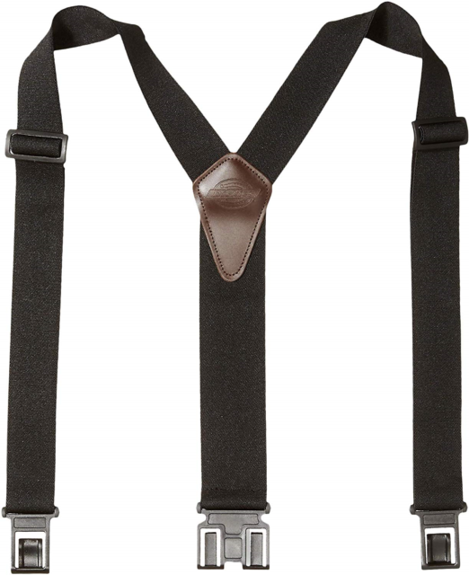 BLACK 1 SIZE CLIP ON // Y-BACK ADJUSTABLE BRAIDED LEATHER SUSPENDERS