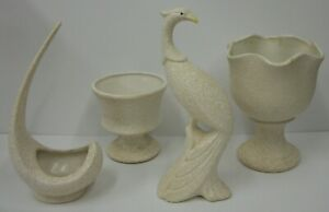 Vintage California Original Pottery MCM White Splatter Glaze Bird Planters