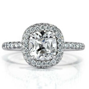 2.20 Ct Cushion Solitaire Moissanite Anniversary Ring 18K Real White Gold Size 5