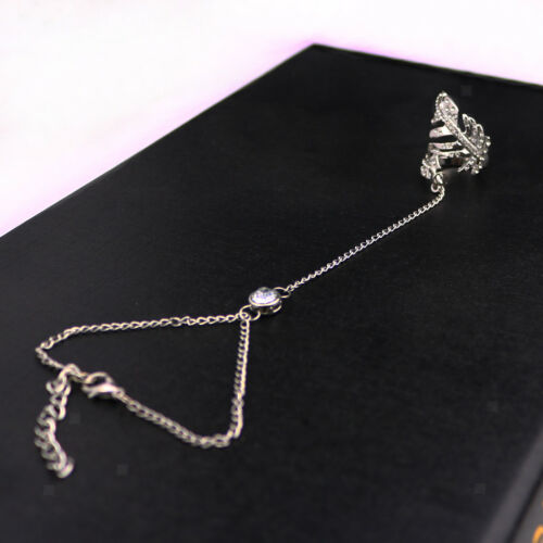 Rhinestone Bracelet Bangle Slave Chain Link Ring Hand Harness Jewelry Silver