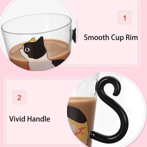 Cute Kitty Glass Water Cup Cat Tail Handle Milk Tea Coffee Fruit Juice Mug xM