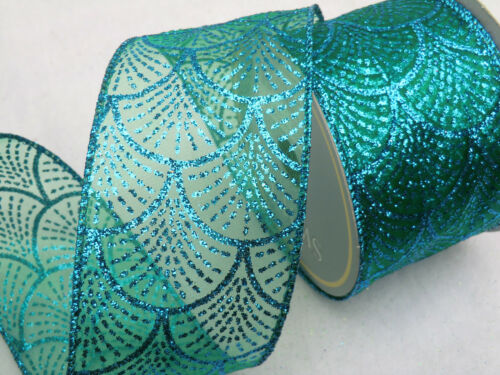 1m 65mm LUXURY SPARKLY,GLITTER WIRED RIBBON,CHRISTMAS,FLORAL,PEACOCK /& PURPLES