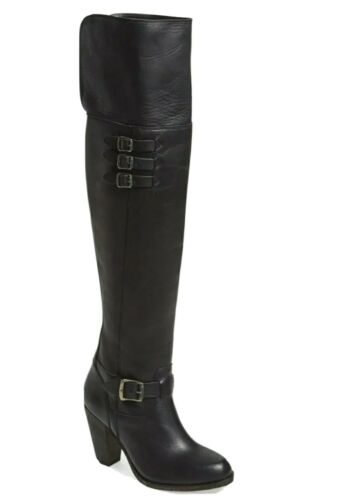 Frye Jenny Over the Knee Black Leather Buckle Boot