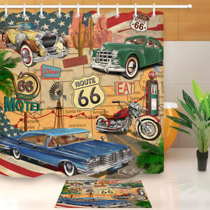 Image is loading Car-Motel-Route-66-Fabric-Shower-Curtain-Set- & Car Motel Route 66 Fabric Shower Curtain Set 71