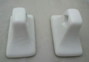 Arctic-White-Porcelain-Towel-Bar-Rod-Holders-Ceramic-Vintage-Mid-Century-Modern