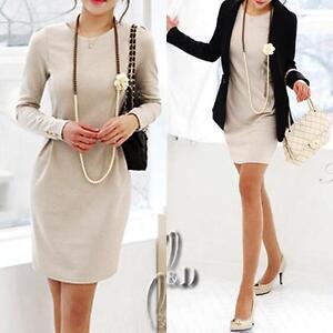 AU-SELLER-Elegant-Biege-Long-Sleeve-OL-Offic-Slim-Business-Pencil-Dress-dr107
