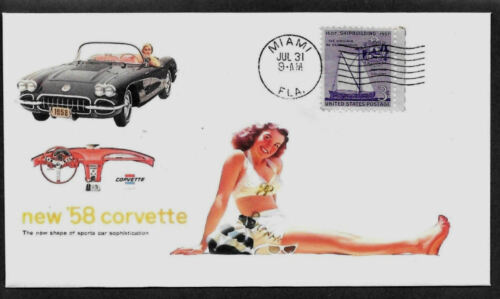 1958 Corvette /& Pin Up Girl ad Featured on Collector/'s Envelope *A454