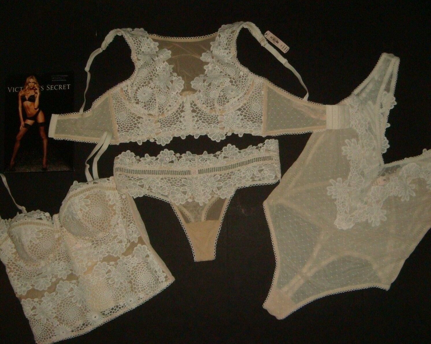 Nuevo con etiquetas Victoria& 039;s Secret 32B, 32C,  34D, 36C conjunto de sujetador corsé + + Peluche Beige blancoo Apliques  ahorra hasta un 80%