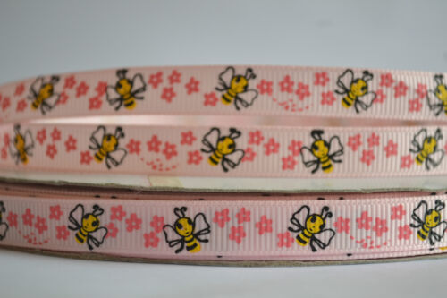 """3//8/"""" 10mm PINK LILAC with BEE /& FLOWERS grosgrain ribbon 3mtrs for crafts card"""