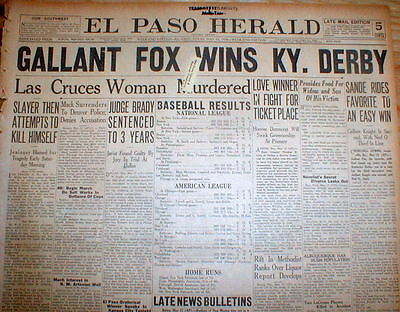 1930 headline newspaper GALLANT FOX WINS KENTUCKY DERBY Horse Race TRIPLE CROWN