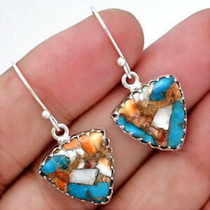 Spiny-Oyster-Turquoise-Arizona-925-Sterling-Silver-Earrings-Jewelry-4617