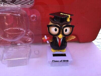 Cap /& Gown Solar Dancing Owl Graduation Class of  2019 Bobble-Head Free Ship
