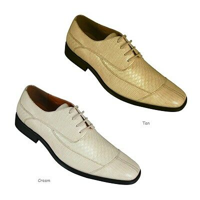 Mens Fashion Oxford Faux Croc-Embossed Leather Dress Shoes CREAM COLOR 5732