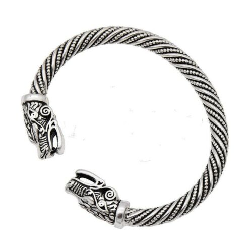 NEW Norse Viking Wolf Head Opening Bracelet Silver Gothic Punk Wristband Bangle