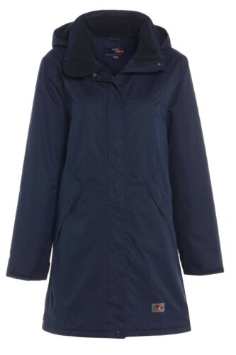 Mujer Ajustado alto 18-24 Impermeable Forro Polar Azul Con Capucha Abrigo Chaqueta Larga