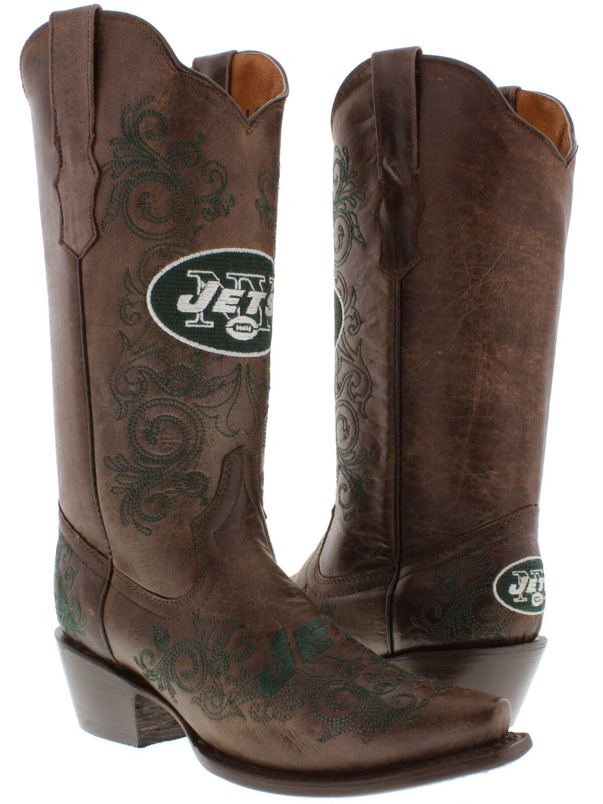 braun New York Jets Rodeo Riding Leather Cowboy Stiefel Western Snip Toe new