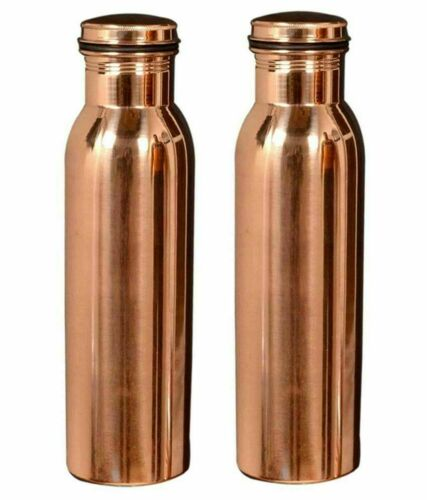 Ayurveda Health Benefits 2 Pc Pure Copper Water Bottle Leak Proof Joint Free