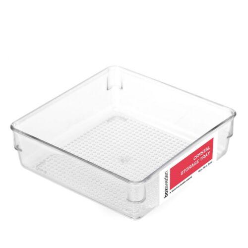 Crystal Acrylic Storage Tray 16X16X5CM Plastic Organiser Container Box Square