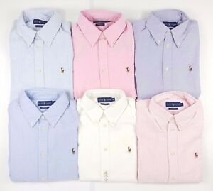 Polo Ralph Lauren Womens Harper Long Sleeve Shirt - White Blue Pink ... 5aec74123