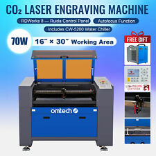 Omtech 30x16 70w Co2 Laser Engraver Cutter Ruida With Cw 5200 Water Chiller