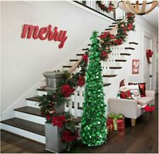 Fonder Mols 5ft Collapsible Artificial Christmas Tree Pop Up Green Tinsel Coastal Christmas Tree for Holiday Decorations