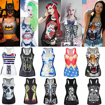 Womens Sleeveless Printed Gothic Punk T Shirt Tee Blouse Vest Tank Tops Clubwear