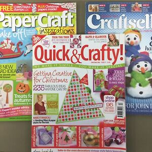 Lot-of-3-Christmas-Holiday-Winter-UK-Craft-Magazines-cards-ornaments-gifts-decor
