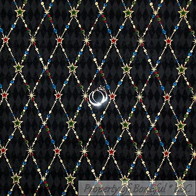BonEful Fabric FQ Cotton Quilt Black Diamond Gold Red Green Blue Dot Star Xmas S