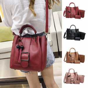 b4aeb82eac42 3pcs Women s PU Leather Handbag Shoulder Bags Tote Purse Messenger ...