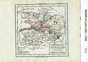 Détails Sur Dépt 49 Carte Du Maine Et Loire Superbe Gravure Cuivre Aquarellée De 1792