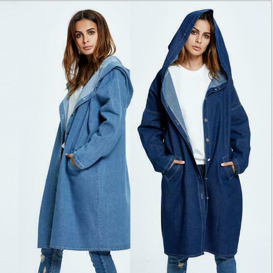 Women Casual Loose Denim Coat Hooded Hoodie Trench Outerwear Jean Jacket Fashion