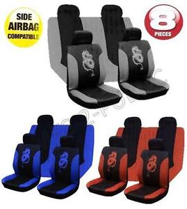 Image Is Loading 8PC DRAGON UNIVERSAL CAR SEAT COVER SET WITH