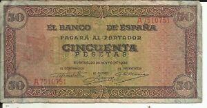 SPAIN 50 PESETAS 1951  P 141 6RW 15FEB F-VF CONDITION