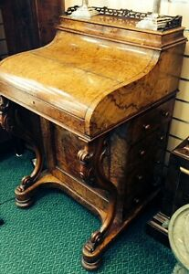 To-Clear-Beautiful-Rare-Ladies-Davenport-Small-Desk-Burr-Walnut-And-Original