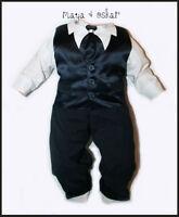 Baby Boy Navy Satin Tie Set Outfit Smart Wedding Suit Christening Baptism 0-24m