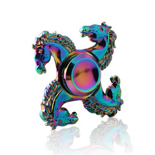 Rainbow Alloy 4 Leaf Horse Fidget Hand Spinner Relieve Stress Finger Gyro Toys