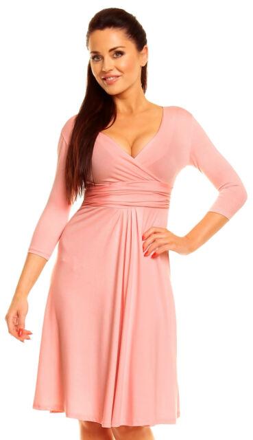 Zeta Ville Women's V Neck 3/4 Sleeve Casual Flattering Summer Circle Dress 282z