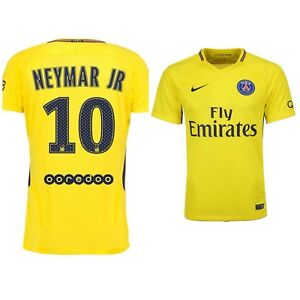 finest selection 70304 76979 Details about NIKE Mens XL Emirates Paris Saint Germain NEYMAR JR 10 Jersey  Yellow Away DriFit